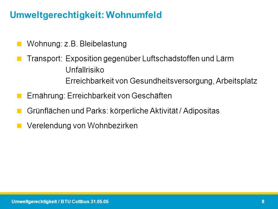 Umweltgerechtigkeit: Wohnumfeld