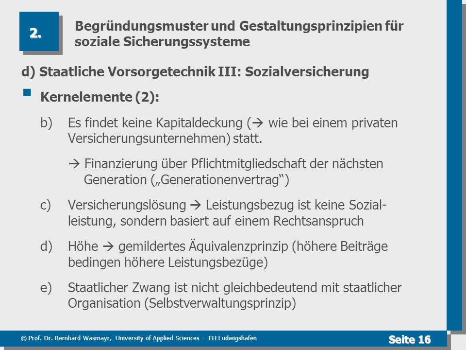 Begründungsmuster und Gestaltungsprinzipien für soziale Sicherungssysteme