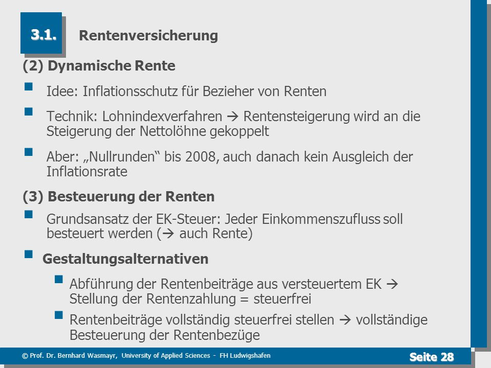 Rentenversicherung 3.1. (2) Dynamische Rente. Idee: Inflationsschutz für Bezieher von Renten.