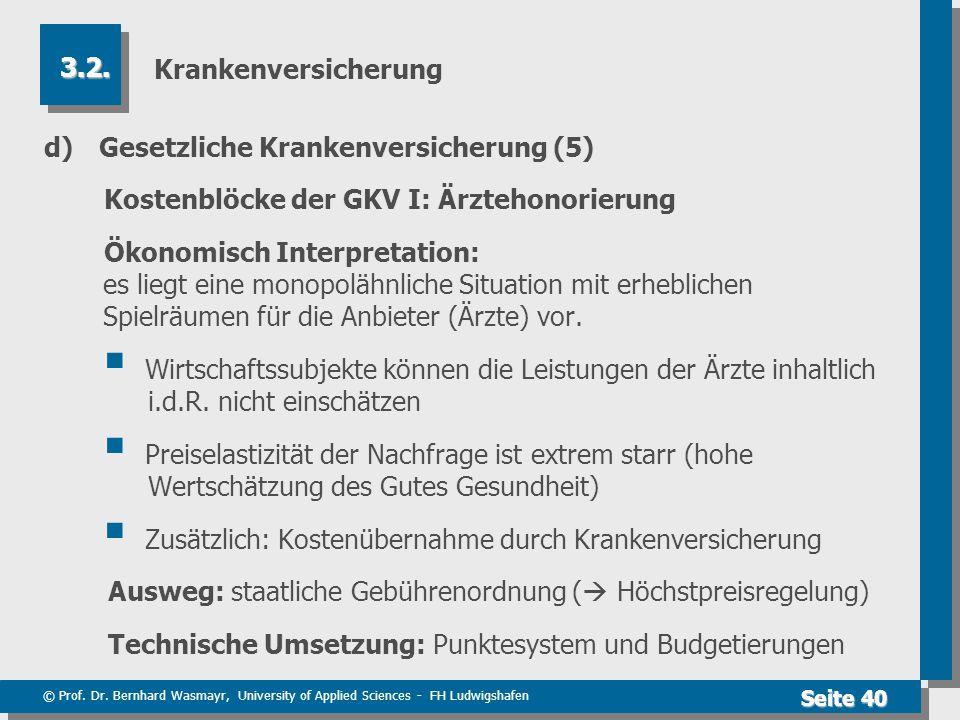 Krankenversicherung 3.2. d) Gesetzliche Krankenversicherung (5) Kostenblöcke der GKV I: Ärztehonorierung.
