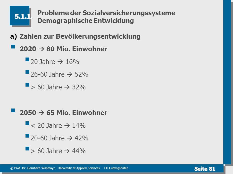 Probleme der Sozialversicherungssysteme Demographische Entwicklung
