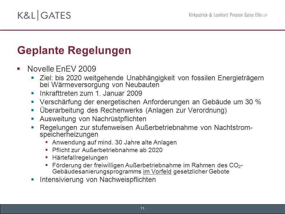 Geplante Regelungen Novelle EnEV 2009