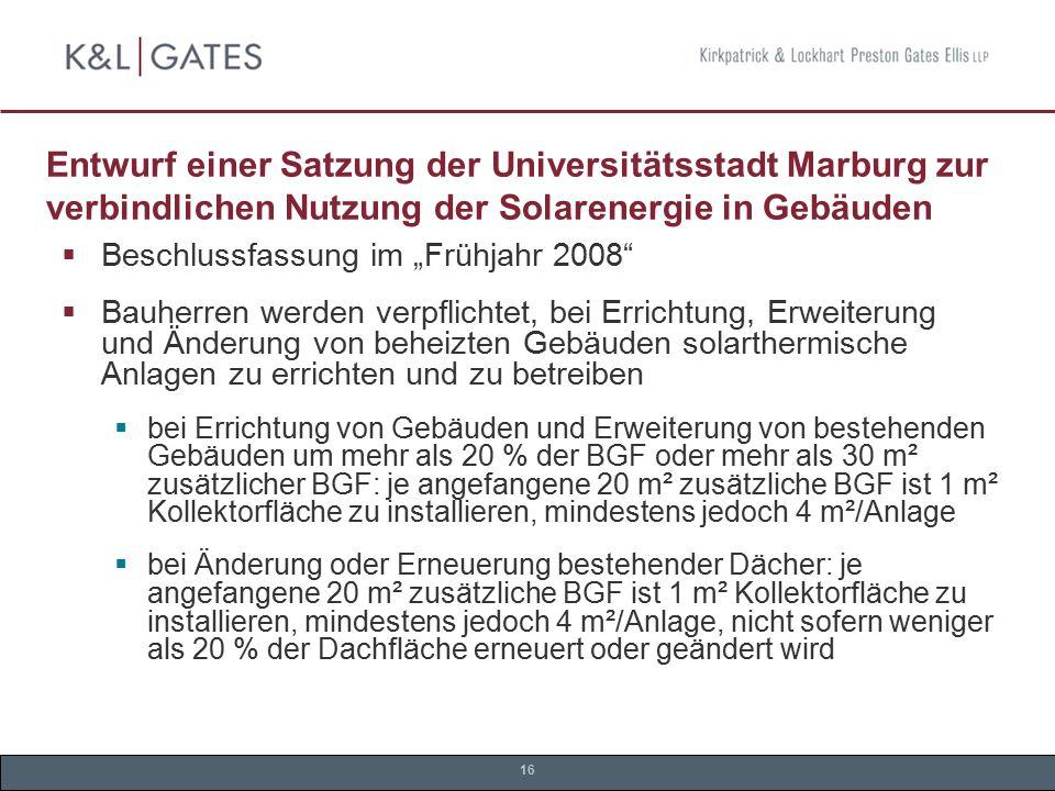 Entwurf einer Satzung der Universitätsstadt Marburg zur verbindlichen Nutzung der Solarenergie in Gebäuden