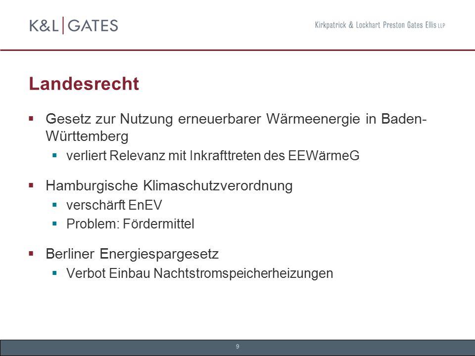 Landesrecht Gesetz zur Nutzung erneuerbarer Wärmeenergie in Baden-Württemberg. verliert Relevanz mit Inkrafttreten des EEWärmeG.