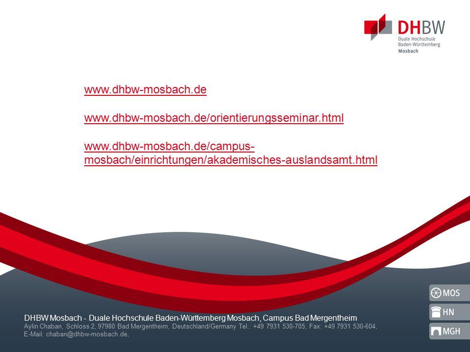 www.dhbw-mosbach.de www.dhbw-mosbach.de/orientierungsseminar.html