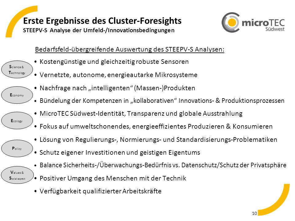 Erste Ergebnisse des Cluster-Foresights STEEPV-S Analyse der Umfeld-/Innovationsbedingungen