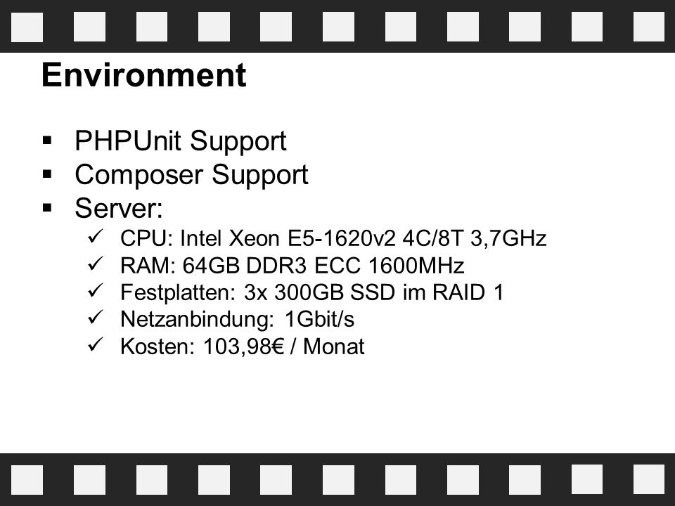 Environment PHPUnit Support Composer Support Server: