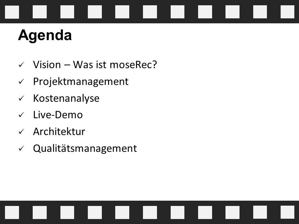 Agenda Vision – Was ist moseRec Projektmanagement Kostenanalyse