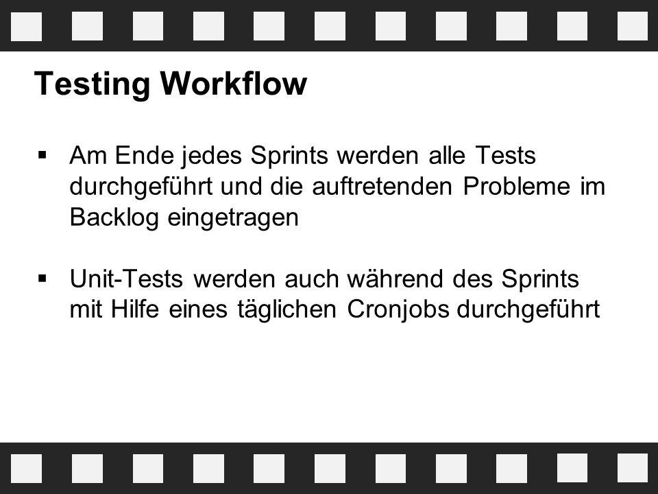 Testing Workflow Am Ende jedes Sprints werden alle Tests durchgeführt und die auftretenden Probleme im Backlog eingetragen.