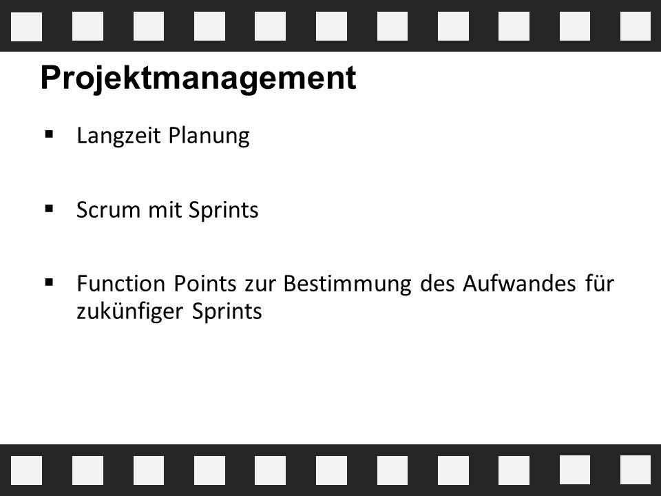 Projektmanagement Langzeit Planung Scrum mit Sprints