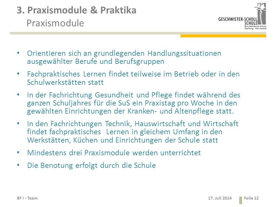 3. Praxismodule & Praktika Praxismodule