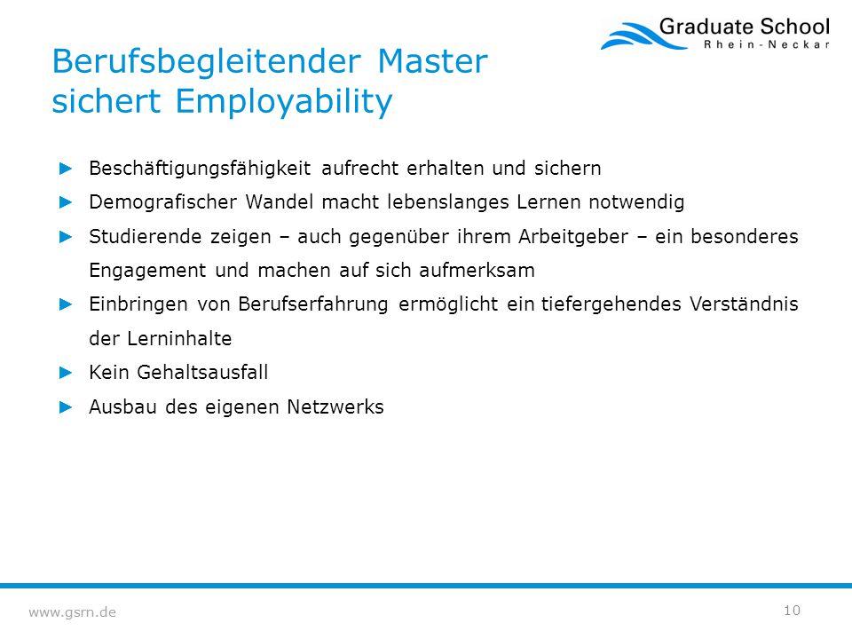 Berufsbegleitender Master sichert Employability