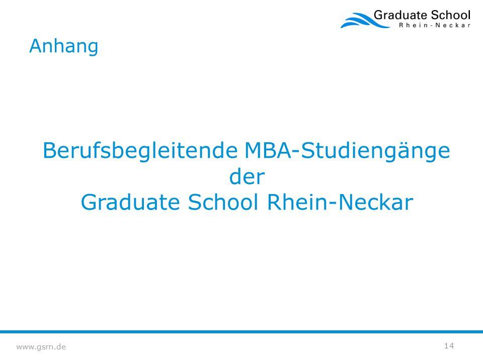 Berufsbegleitende MBA-Studiengänge der Graduate School Rhein-Neckar
