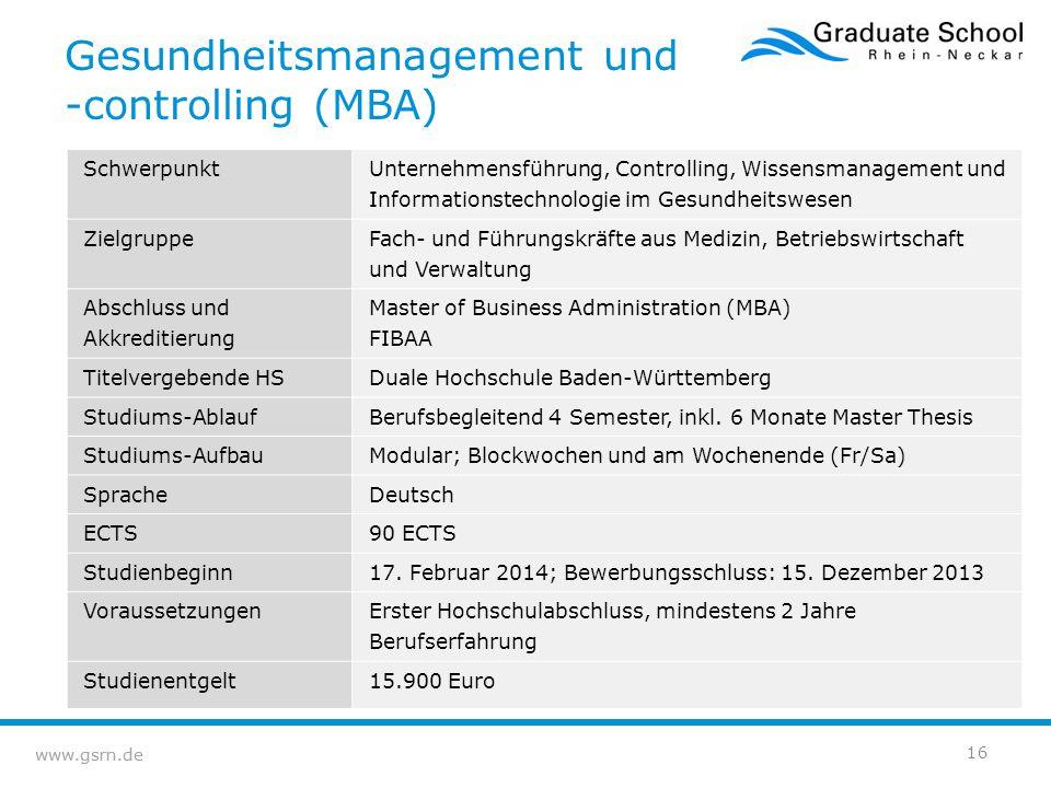 Gesundheitsmanagement und -controlling (MBA)