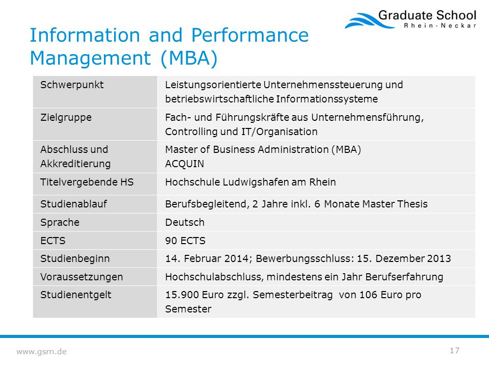 Information and Performance Management (MBA)