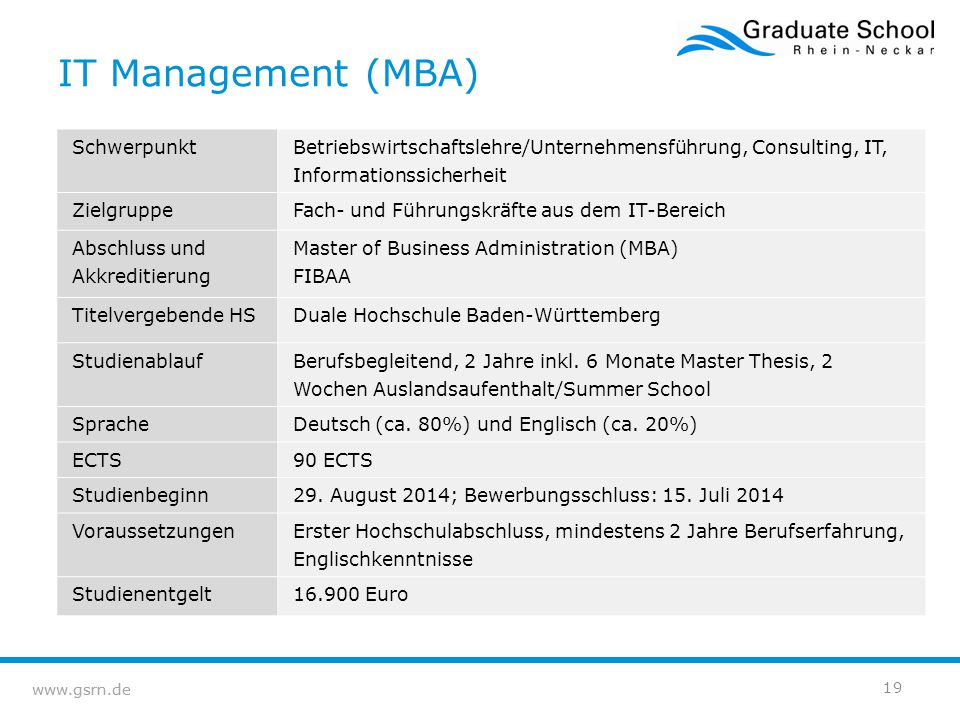 IT Management (MBA) Schwerpunkt