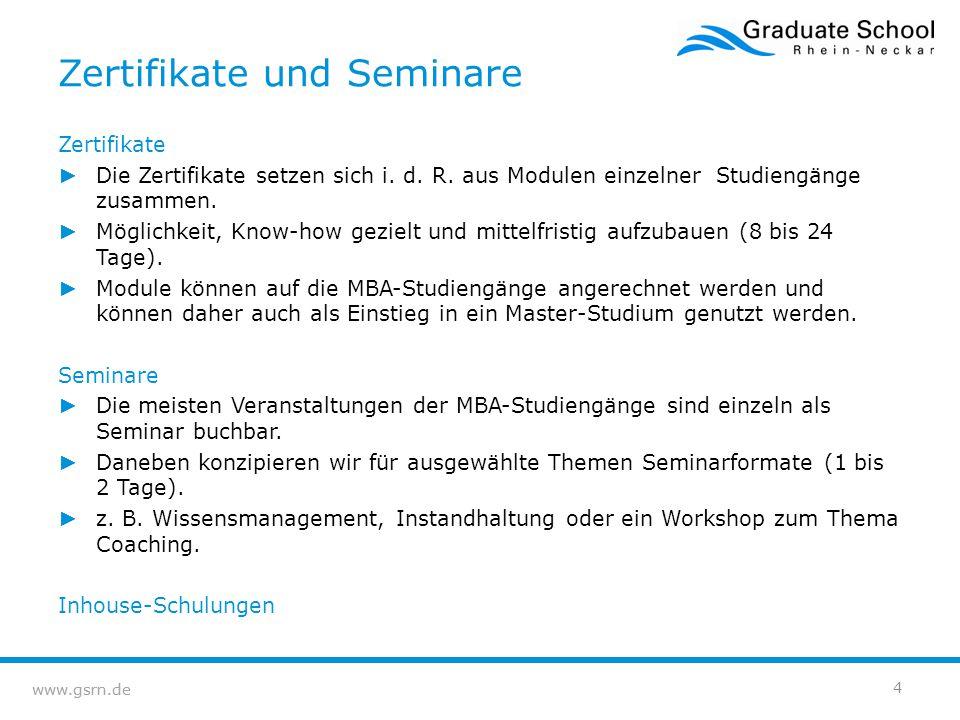 Zertifikate und Seminare