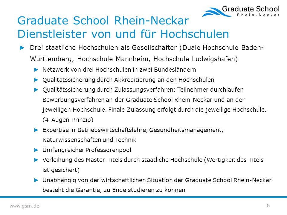 Graduate School Rhein-Neckar Dienstleister von und für Hochschulen