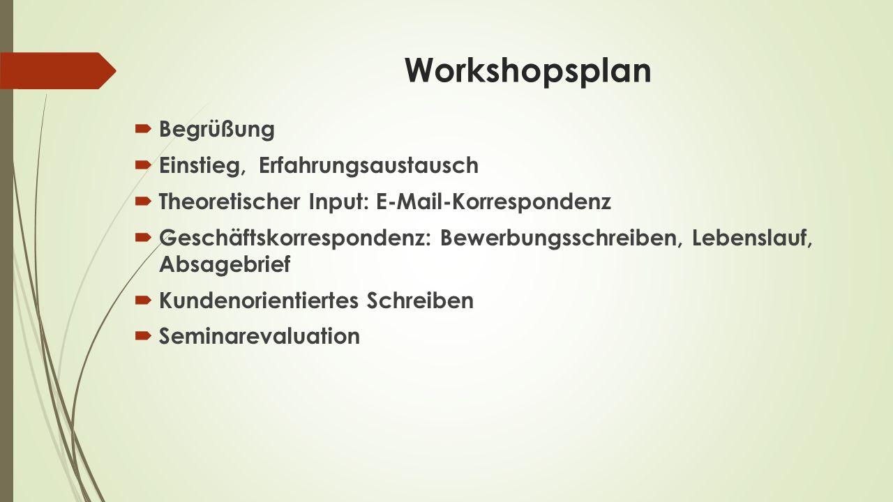 Workshopsplan Begrüßung Einstieg, Erfahrungsaustausch