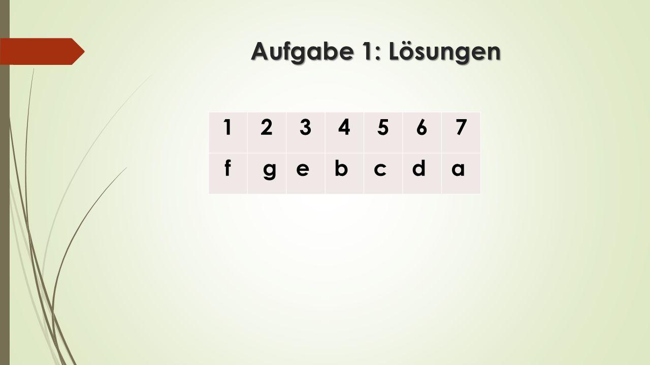 Aufgabe 1: Lösungen 1 2 3 4 5 6 7 f g e b c d a