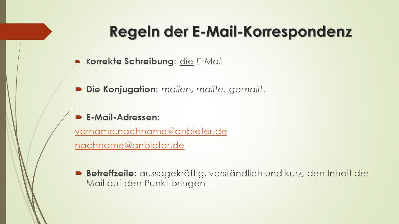 Regeln der E-Mail-Korrespondenz