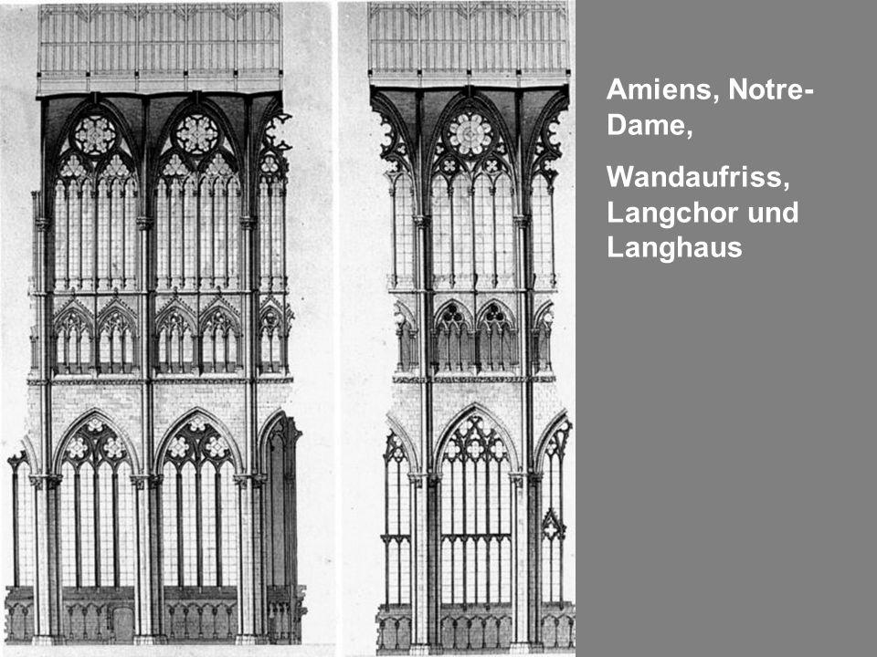 Amiens, Notre-Dame, Wandaufriss, Langchor und Langhaus