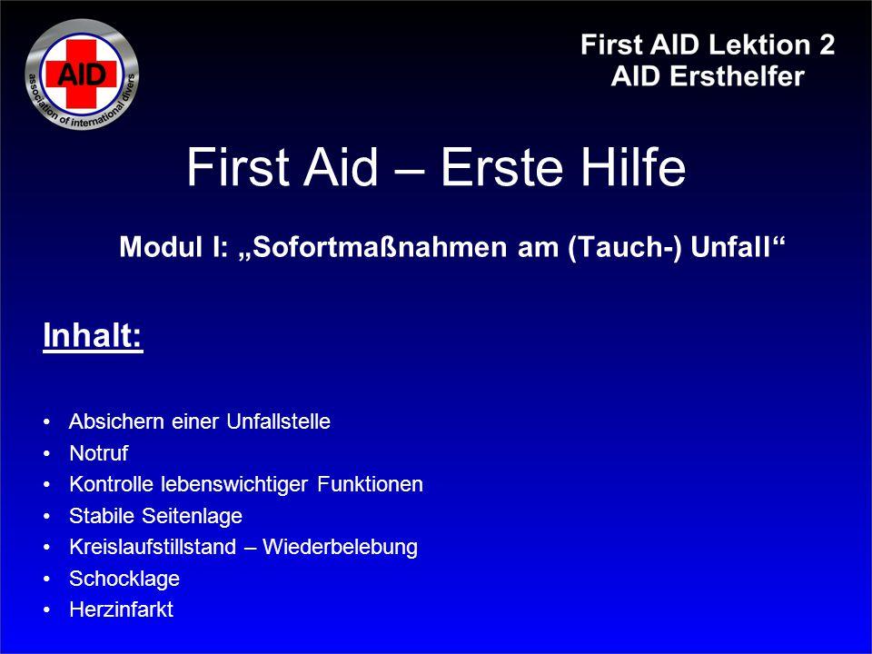 "Modul I: ""Sofortmaßnahmen am (Tauch-) Unfall"