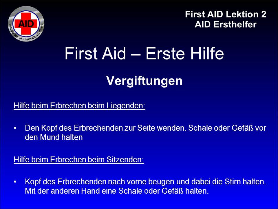 First Aid – Erste Hilfe Vergiftungen