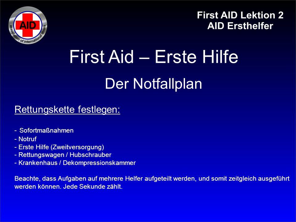 First Aid – Erste Hilfe Der Notfallplan