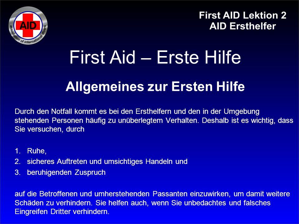 Allgemeines zur Ersten Hilfe