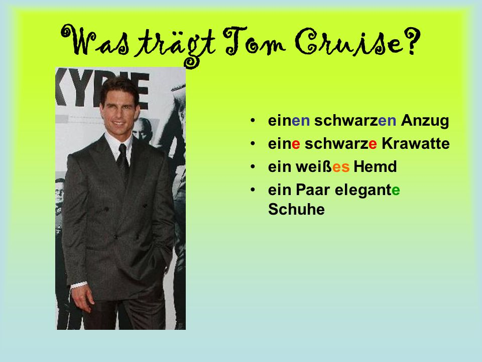 Was trägt Tom Cruise einen schwarzen Anzug eine schwarze Krawatte