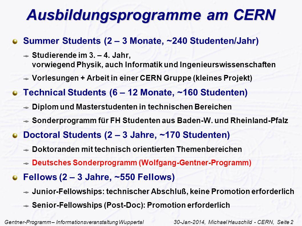 Ausbildungsprogramme am CERN