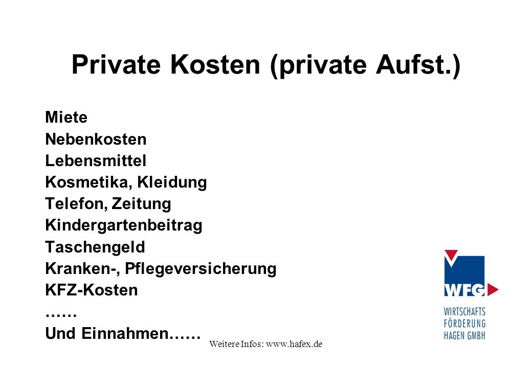 Private Kosten (private Aufst.)