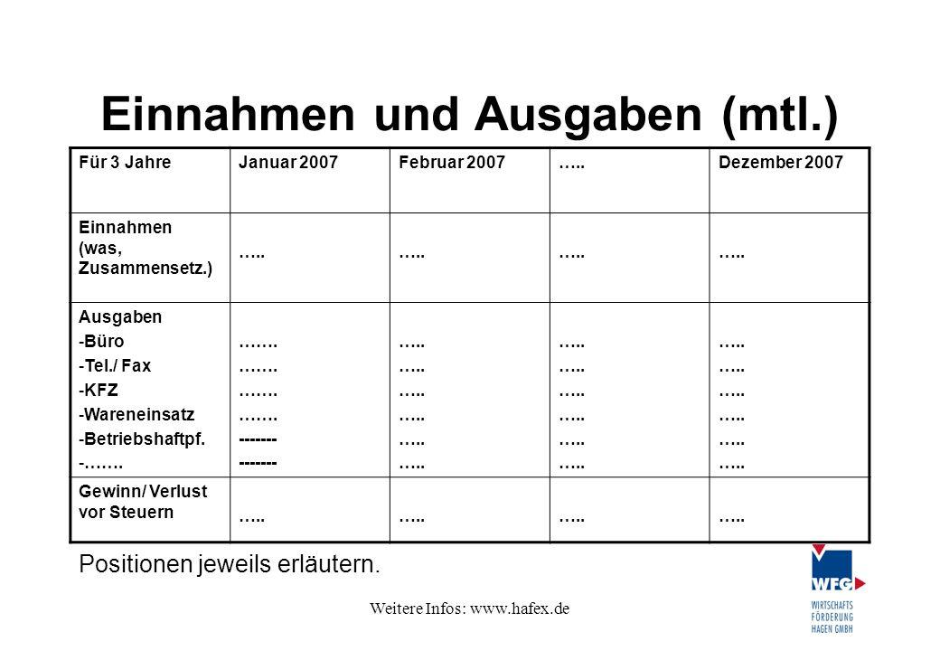 Einnahmen und Ausgaben (mtl.)