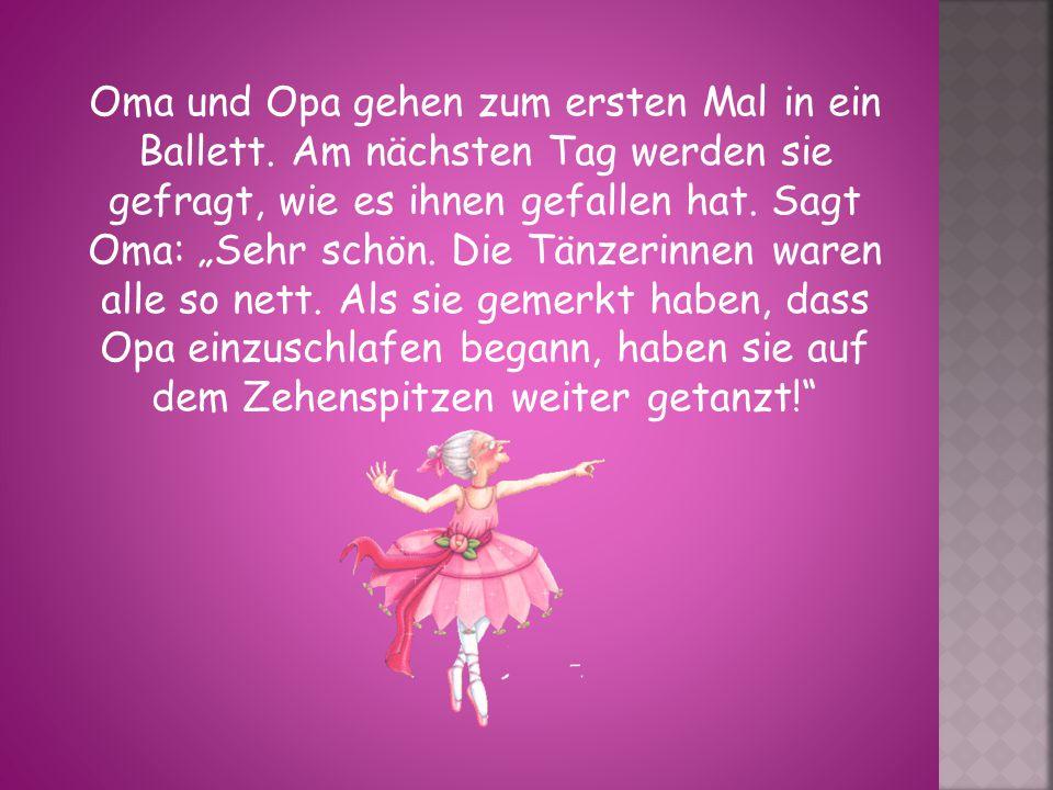 Oma und Opa gehen zum ersten Mal in ein Ballett