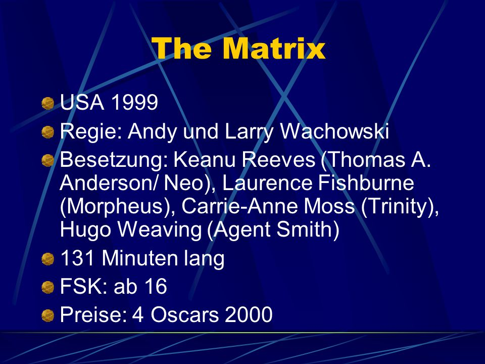 The Matrix USA 1999 Regie: Andy und Larry Wachowski