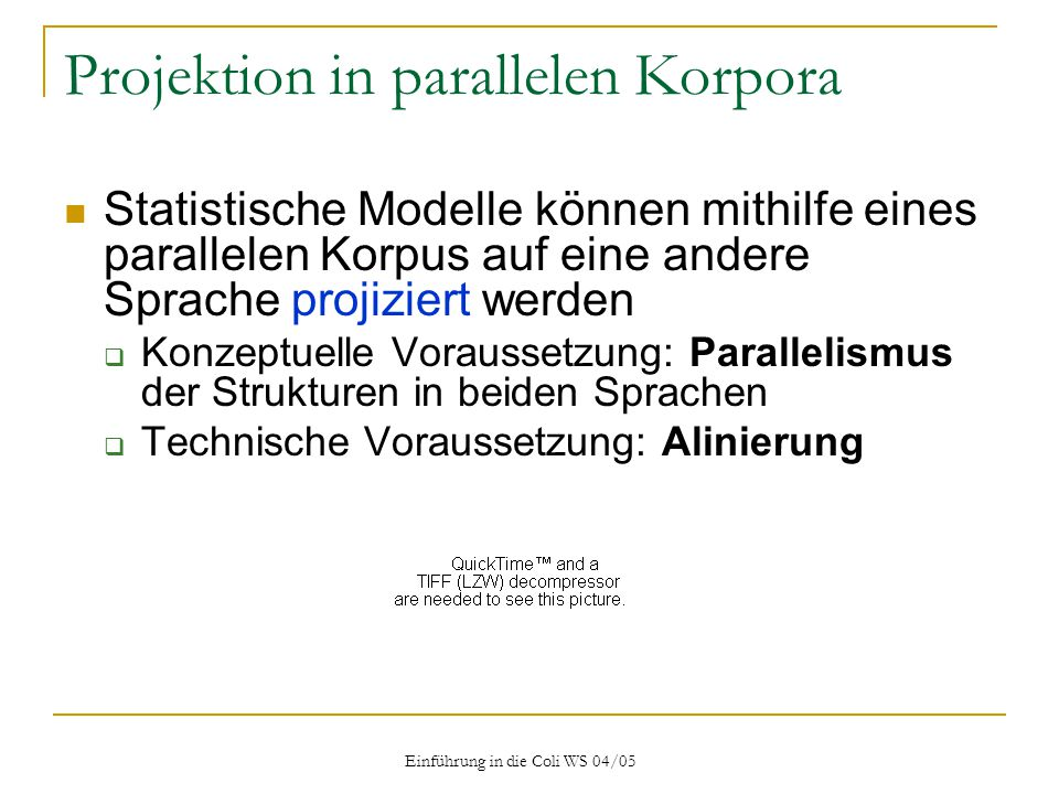 Projektion in parallelen Korpora