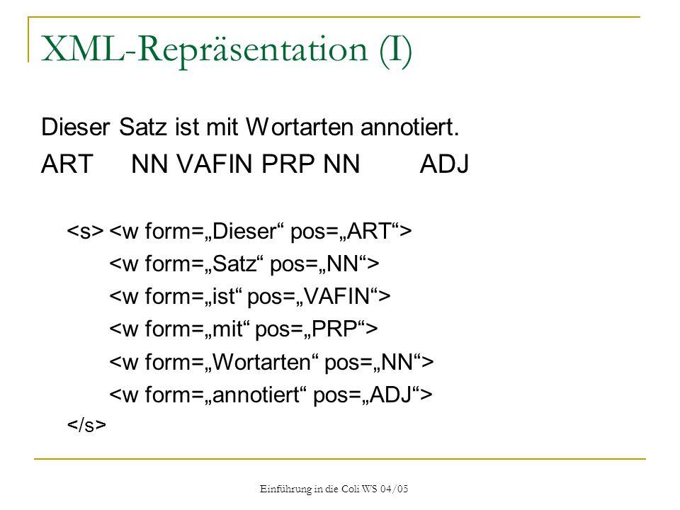 XML-Repräsentation (I)