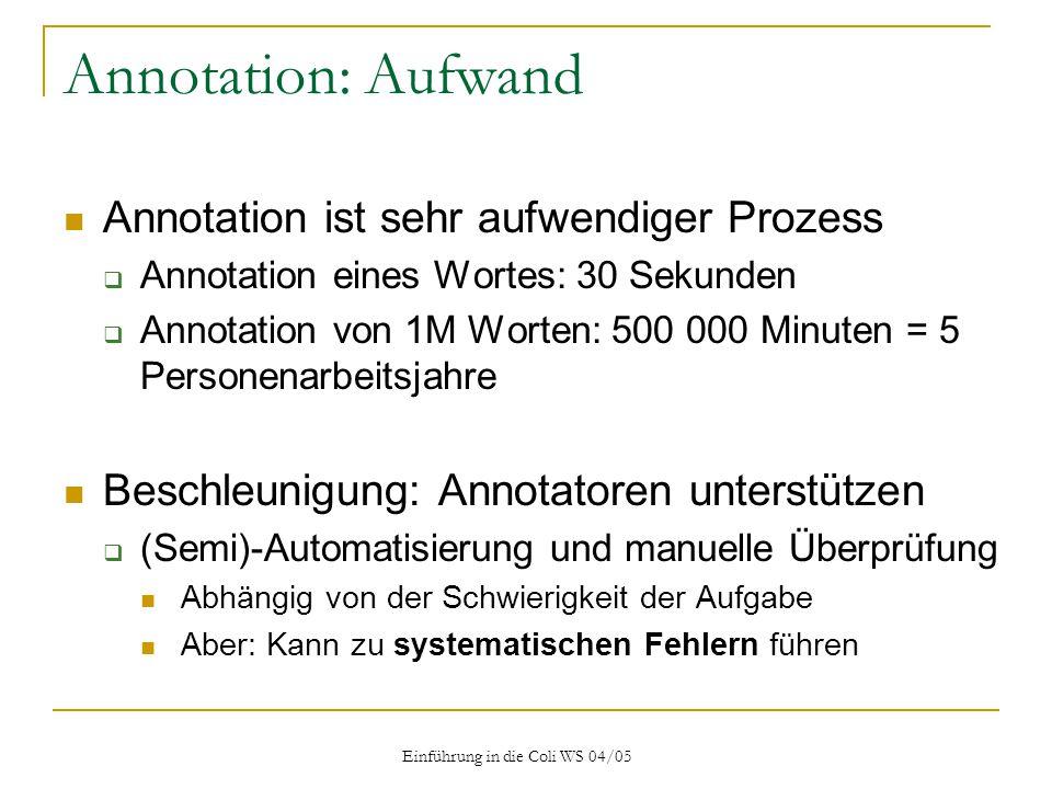 Einführung in die Coli WS 04/05
