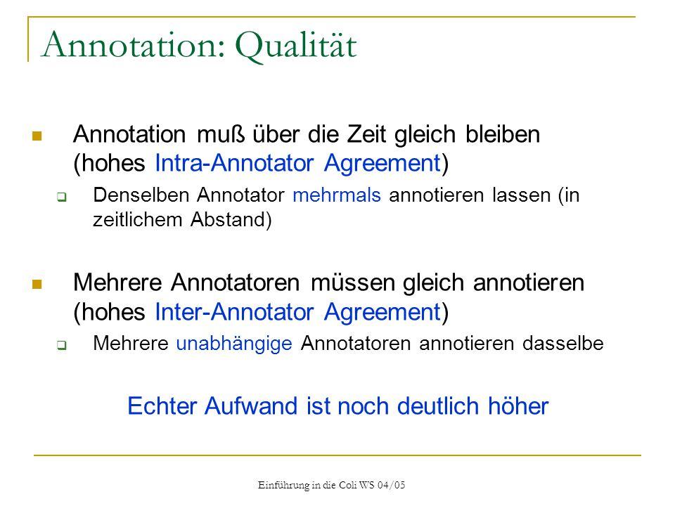 Annotation: Qualität Annotation muß über die Zeit gleich bleiben (hohes Intra-Annotator Agreement)
