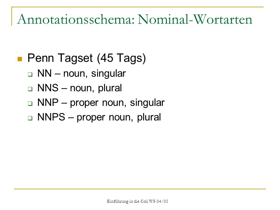 Annotationsschema: Nominal-Wortarten