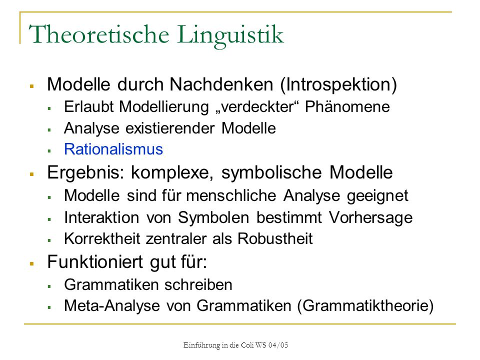 Theoretische Linguistik