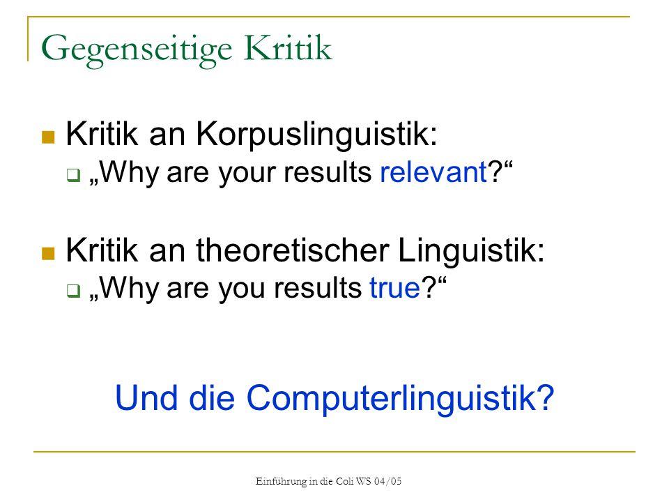 Gegenseitige Kritik Und die Computerlinguistik