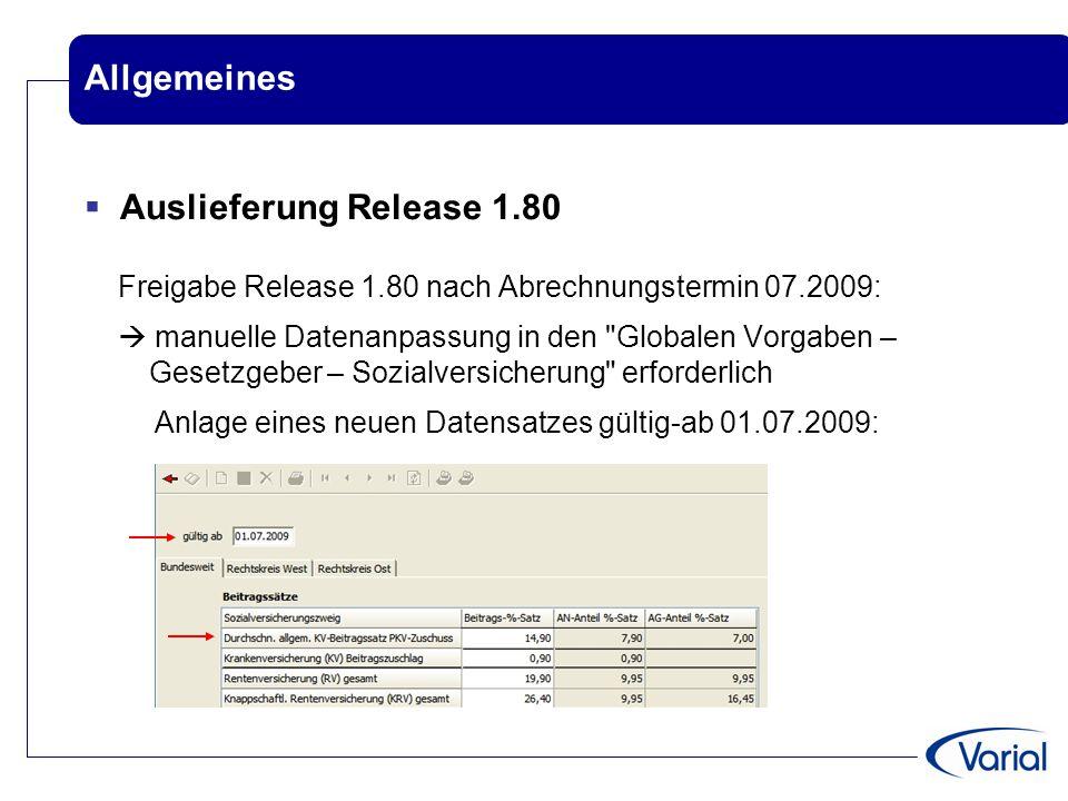 Allgemeines Auslieferung Release 1.80