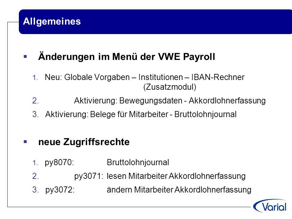 Änderungen im Menü der VWE Payroll