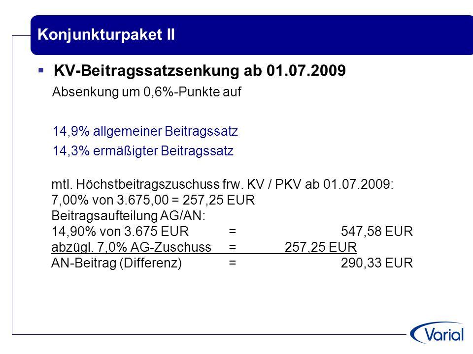KV-Beitragssatzsenkung ab 01.07.2009