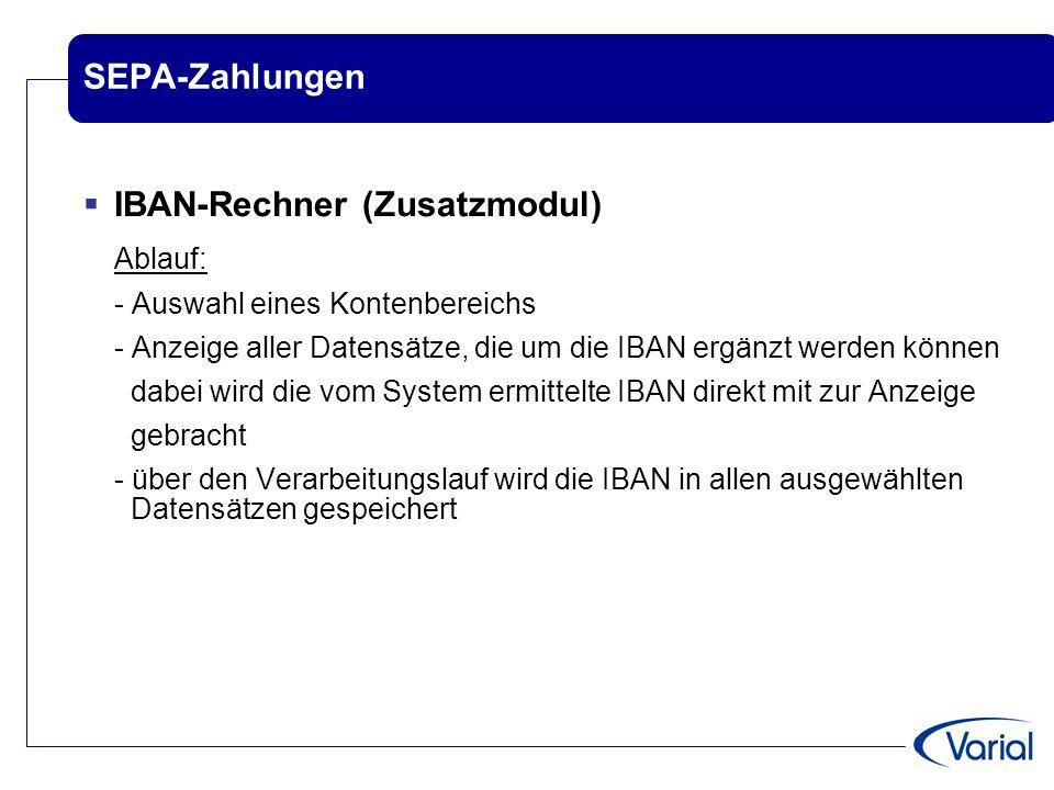IBAN-Rechner (Zusatzmodul) Ablauf: