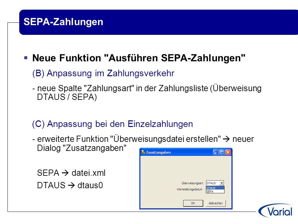 Neue Funktion Ausführen SEPA-Zahlungen