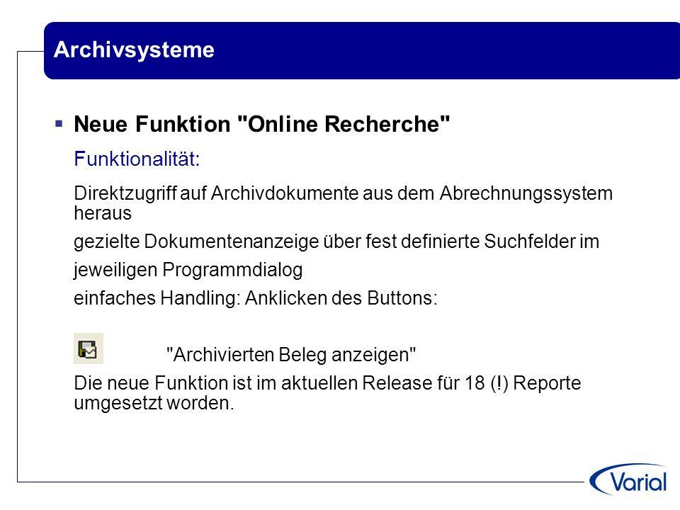 Neue Funktion Online Recherche Funktionalität: