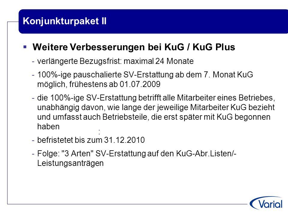Weitere Verbesserungen bei KuG / KuG Plus